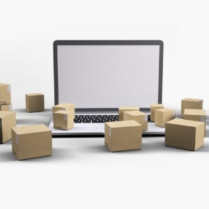 delivery, boxes, laptop